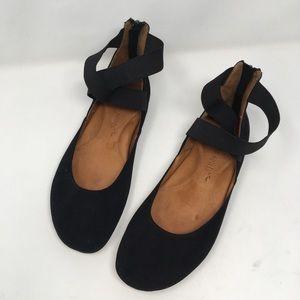 Gentle souls   suede ballet flats black ankle wrap